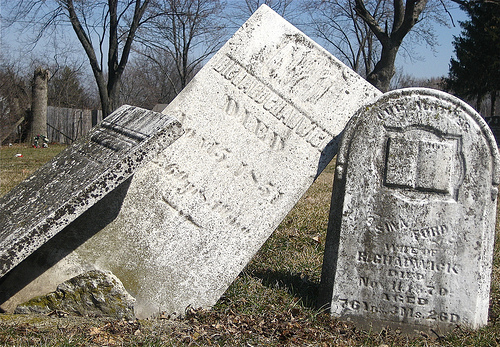 Headstones Falling Over