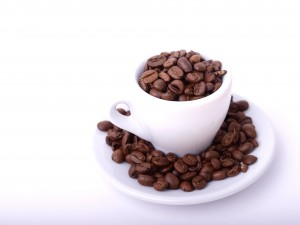 espresso cup with beans
