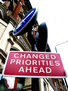 changed priorities sign