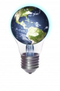 lightbulb with the Americas globe