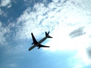 Jet plane across the sky