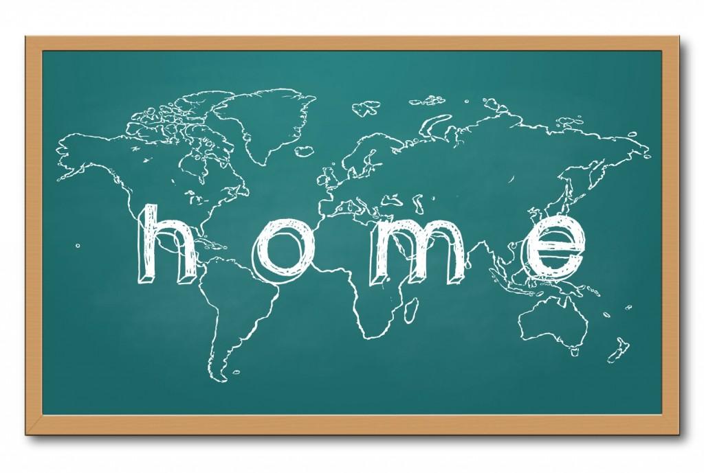 worldmap on a chalkboard