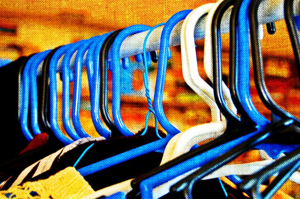 blue hangers