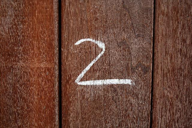 2 on wood