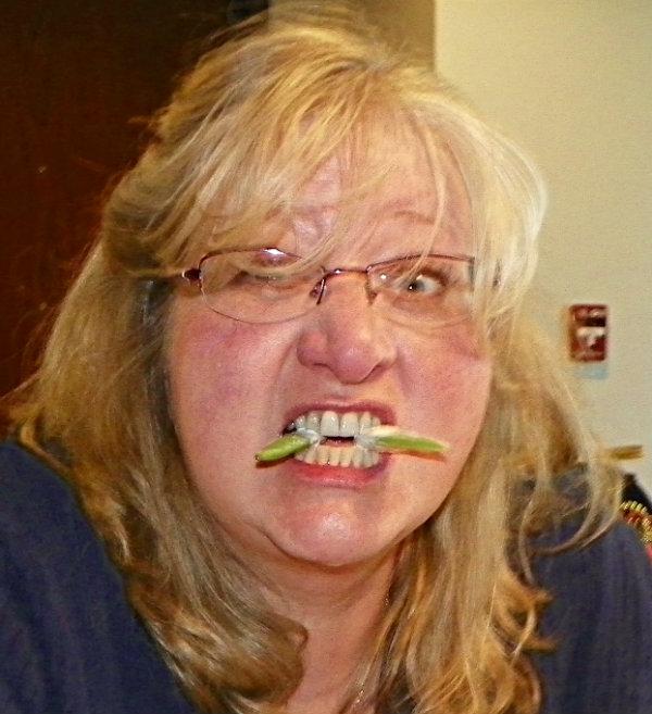 Sheryl with celery
